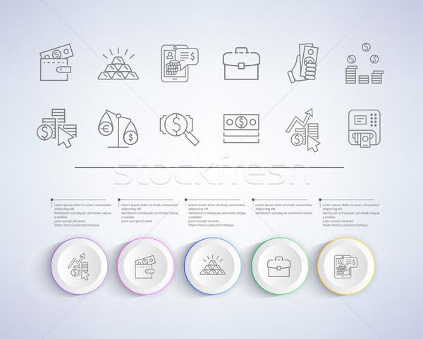 üzlet megoldás bemutató ikonok jövedelem statisztika Stock fotó © robuart