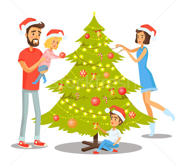 Family Decorating Tree Vector Illustration Stock photo © robuart