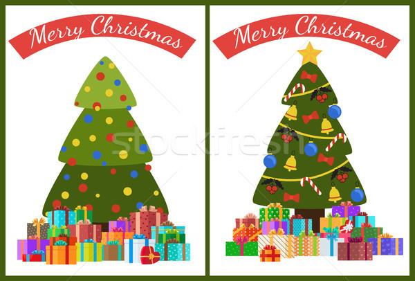 Stok fotoğraf: Neşeli · Noel · poster · ayarlamak · ağaç