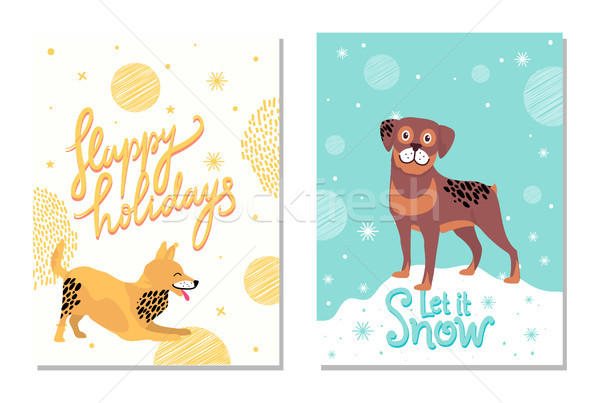 Happy Holidays Let it Snow Postcards with Dogs Stock photo © robuart
