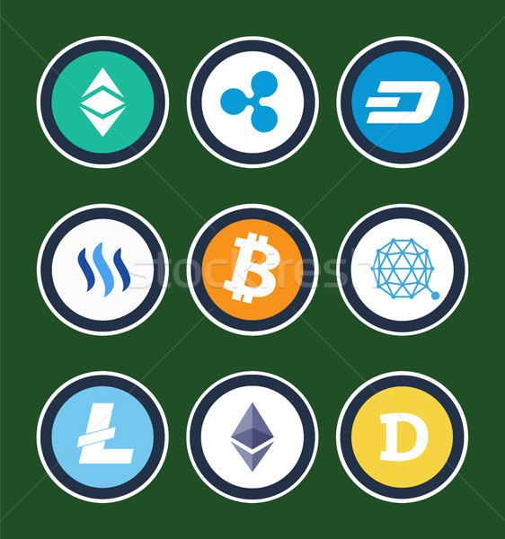Cryptocurrency Symbols Inside Circles Collection Stock photo © robuart