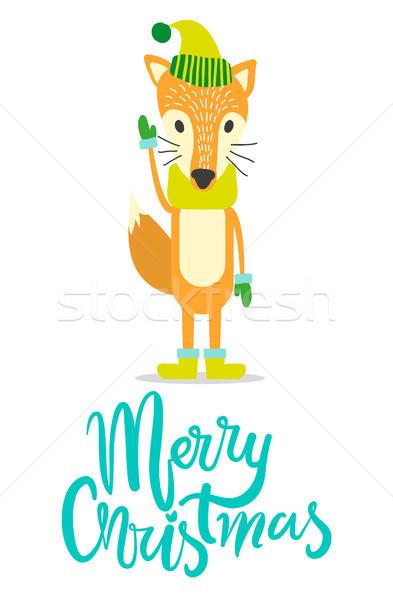 Joyeux Noël carte de vœux Fox chaud chapeau Photo stock © robuart