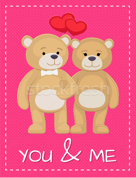 Cute Bear Animals Family Male and Female Hold Paws Stock photo © robuart