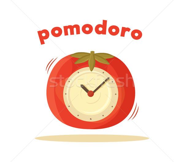 Pomodoro Clock Card Colored Vector Illustration Stock photo © robuart