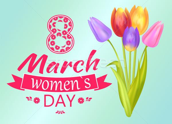 Женский день плакат цветок заголовок украшение тюльпаны Сток-фото © robuart
