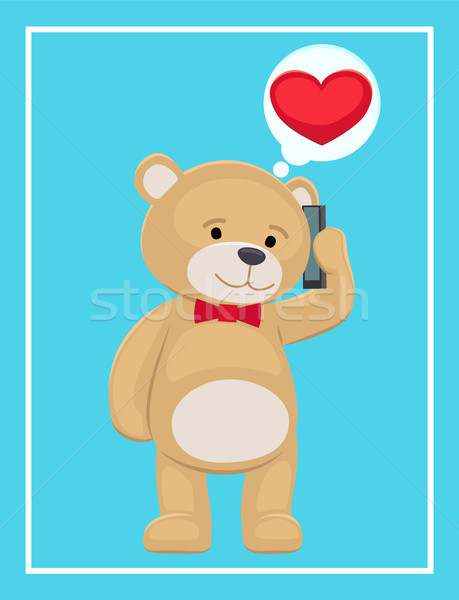 Plush Bear Toy Speaking on Telephone with his Love Stock photo © robuart