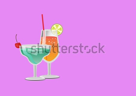 Set Summer Cocktails Vodka with Juice, Blue Lagoon Stock photo © robuart