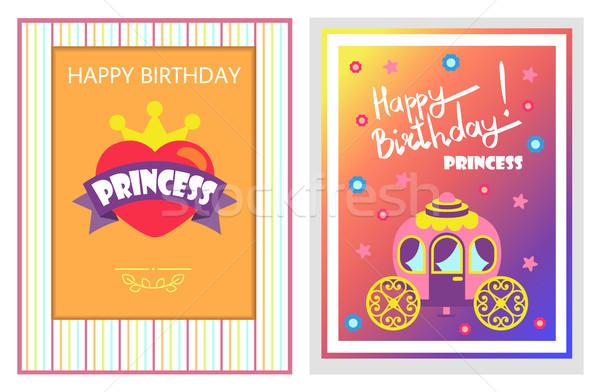 Happy Birthday Cards Set, Vector Illustration Stock photo © robuart