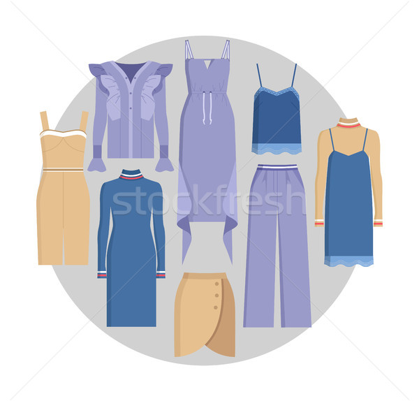 Vogue Clothe Set, Color Card, Vector Illustration Stock photo © robuart