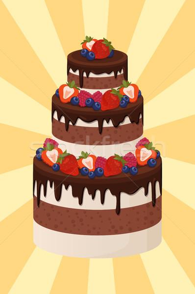торт шоколадом кремом свадебный торт украшенный Сток-фото © robuart