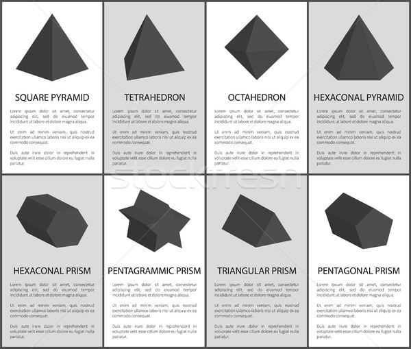 Square Pyramid and Octahedron Black Prisms Set Stock photo © robuart