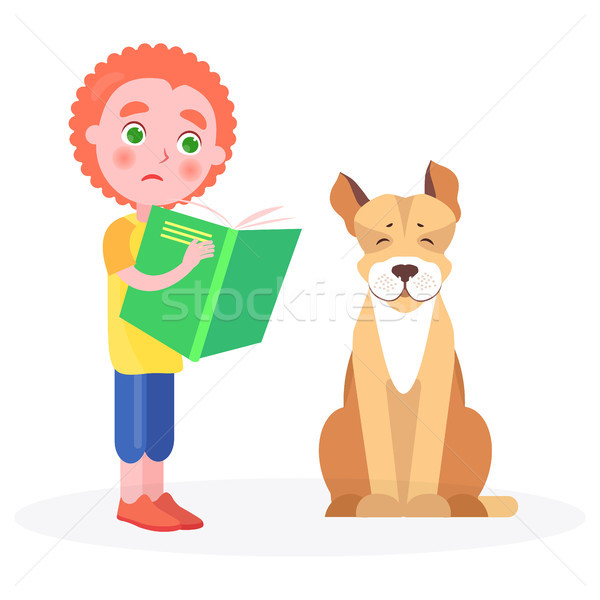 Distressed Curly Boy Stands with Book and Dog Stock photo © robuart