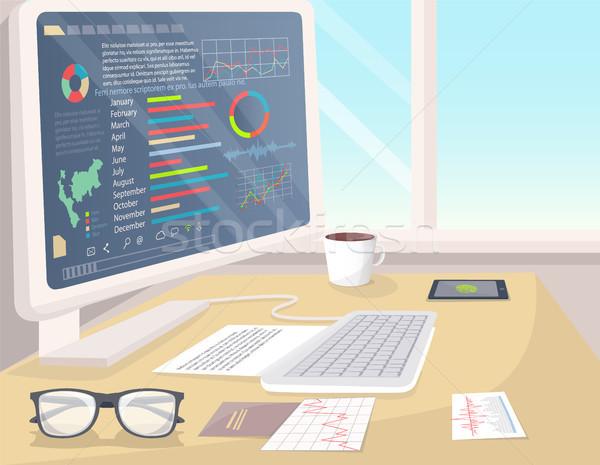 Business statistiche bianco pc luminoso ufficio Foto d'archivio © robuart