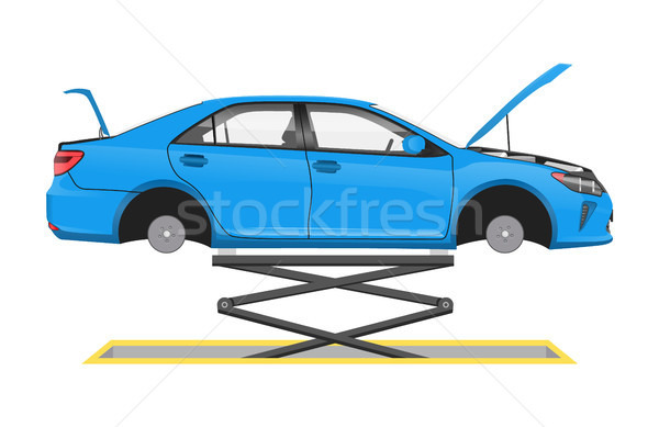 Vehicle Suspended on Special Lift Vector Poster Stock photo © robuart