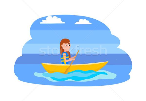 Kajakken zomer sport activiteiten water geïsoleerd Stockfoto © robuart