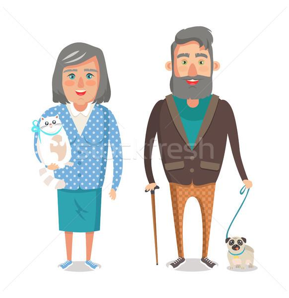 Maturité grands-parents favori animaux de compagnie Grandpa granny Photo stock © robuart