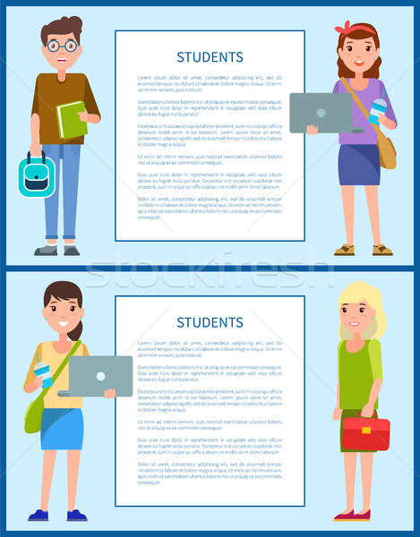 Male and Female Teenagers Set Vector Illustration Stock photo © robuart