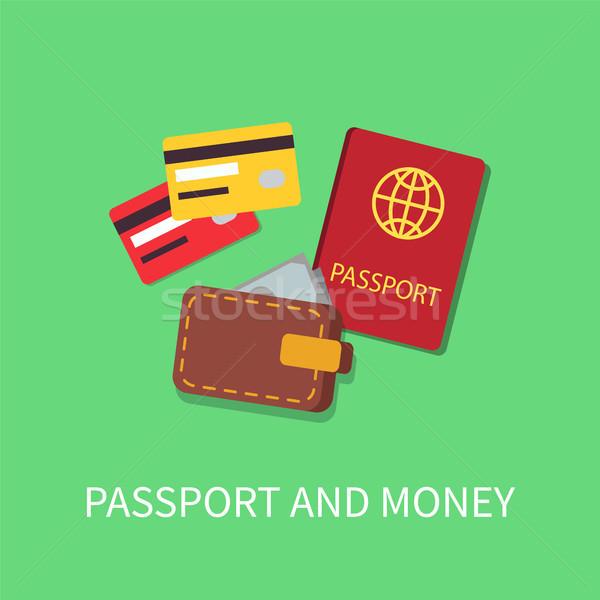 Passport and Money Poster Vector Illustration Stock photo © robuart