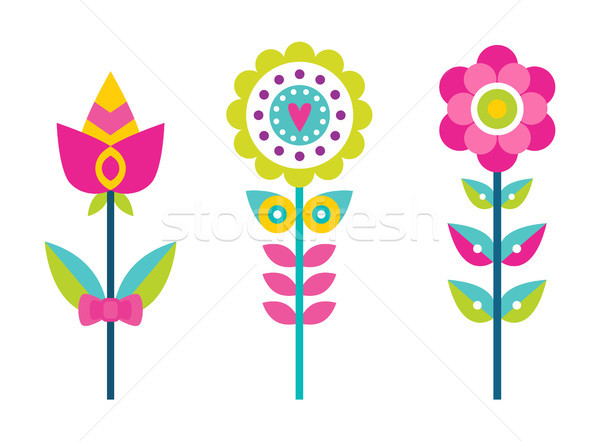 Bright Creative Flowers with Colorful Petals Set Stock photo © robuart