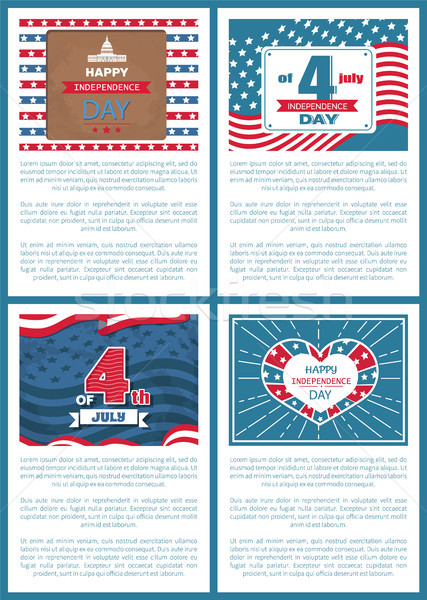 Set Patriotic US Posters 4th July Independence day Stock photo © robuart