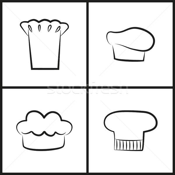 Chef Hats Monochrome Minimalistic Sketches Set Stock photo © robuart