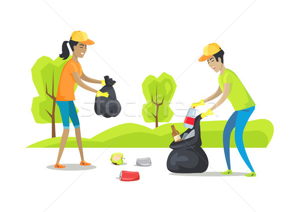 People Collecting Garbage Vector Illustration Stock photo © robuart
