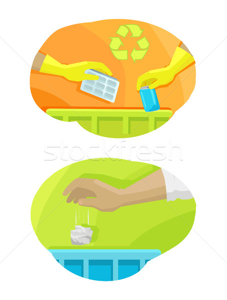 Hands Throwing Trash Away Vector Illustration Stock photo © robuart
