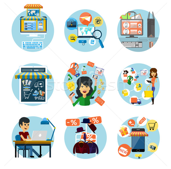 Set of flat online shopping and banking concepts Stock photo © robuart