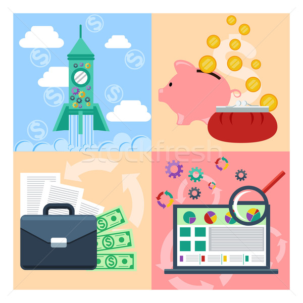 Set of concept for startup, analytics, finance Stock photo © robuart