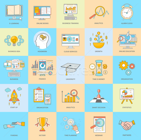 Business Thin Line Icons Stock photo © robuart
