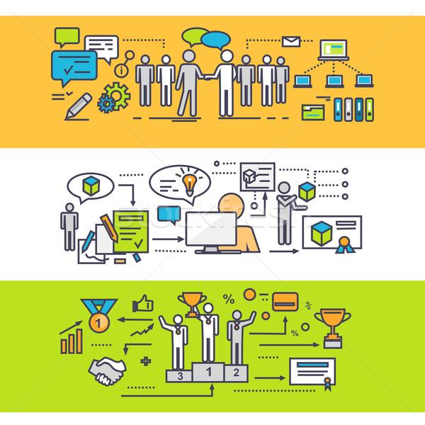 Stock fotó: Folyamat · sikeres · csapatmunka · üzleti · stratégia · ötlet · megoldás