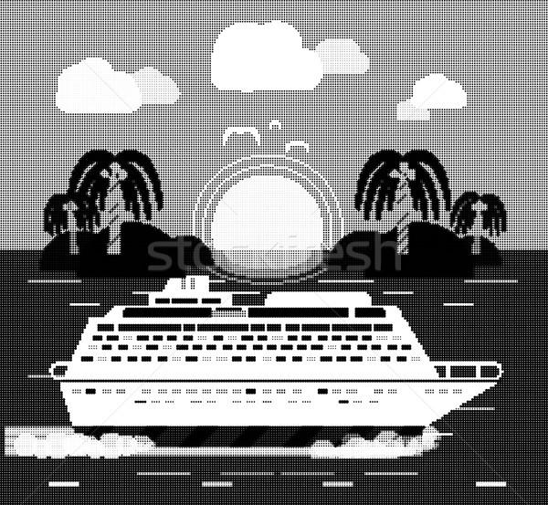 Statek wycieczkowy wody turystyki wyspa ikona Zdjęcia stock © robuart