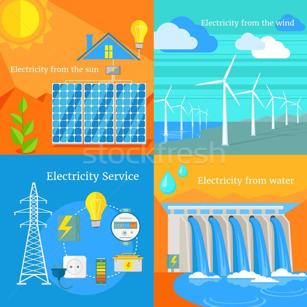 Solar eletricidade ventoso água sol painéis solares Foto stock © robuart