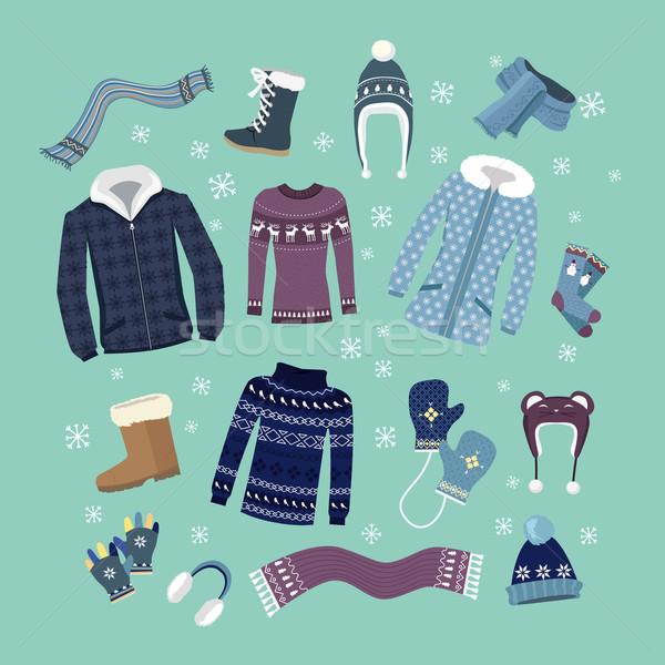 Set of Warm Winter Clothes Design Stock photo © robuart