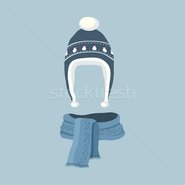 Csíkos sál izolált tél kalap ikon Stock fotó © robuart