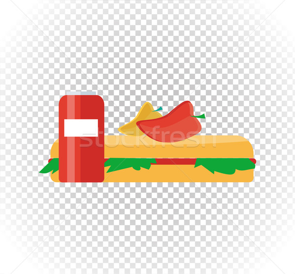 Fast Food Burger and Drink Flat Design Stock photo © robuart