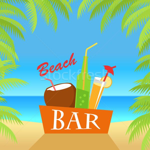 Plaży bar ilustracja lata napojów wektora Zdjęcia stock © robuart
