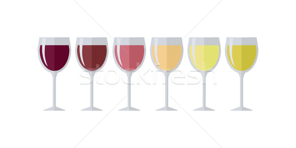 Glasses with Different Types of Elite Wine. Stock photo © robuart