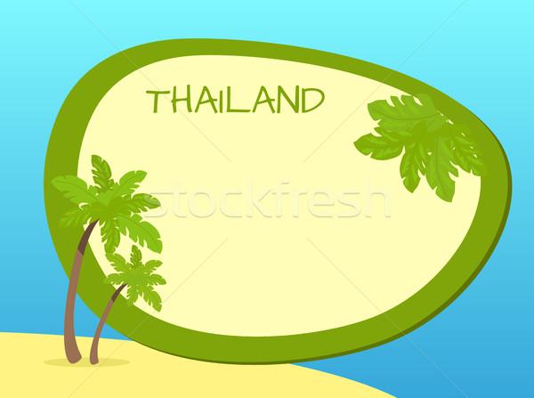 Таиланд острове ладонями Label центр желтый Сток-фото © robuart
