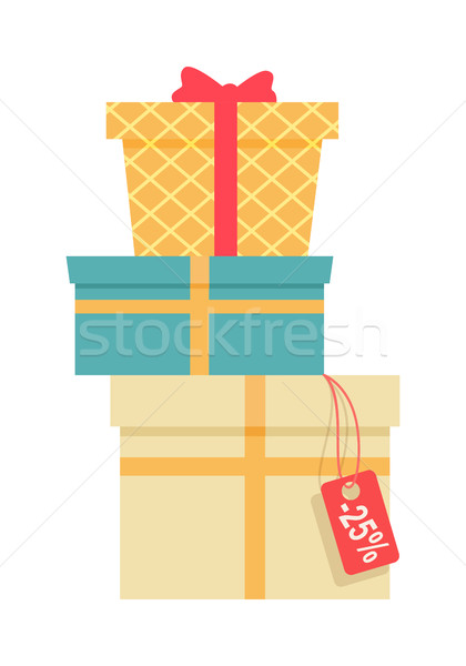 Pile of Colorful Wrapped Gift Boxes. Stock photo © robuart