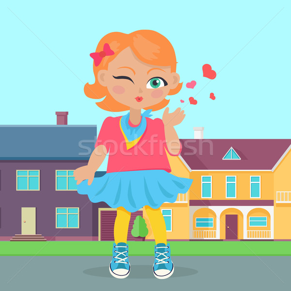 Young Girl Sent Air Kiss. Vector Stock photo © robuart