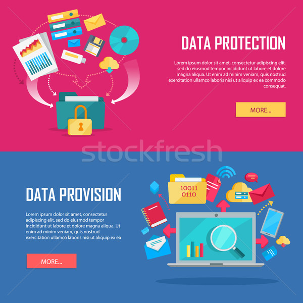 Set of Data Protection and Provision Web Banner  Stock photo © robuart
