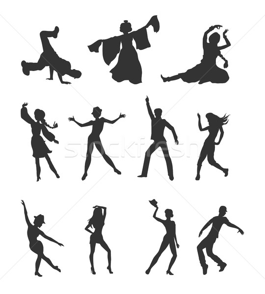 Set of Dancing Peoples Flat Vector Illustrations Stock photo © robuart