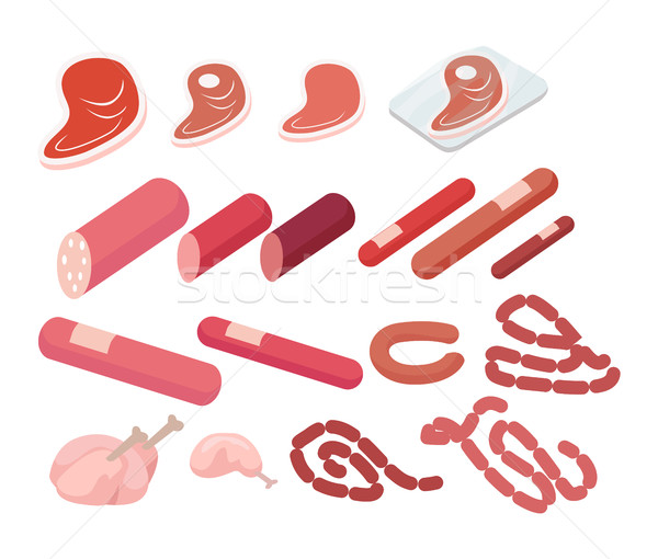 Set of Meat Products on White in Vector. Butchery Stock photo © robuart