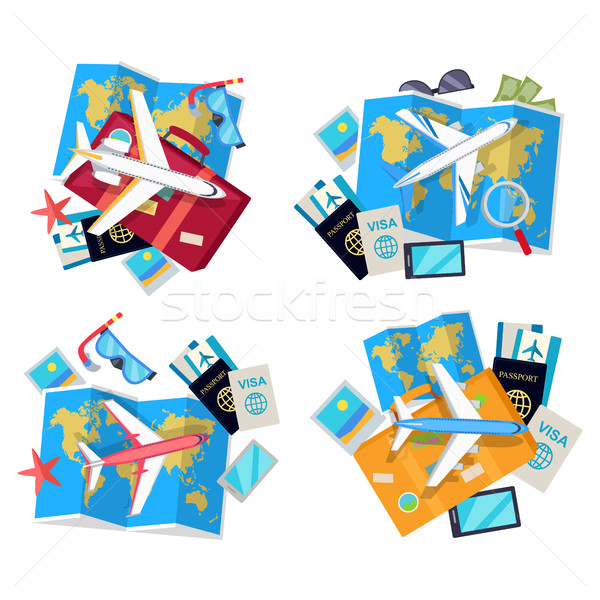 Collection of Four Travel Sets. Vector for Tourist Stock photo © robuart