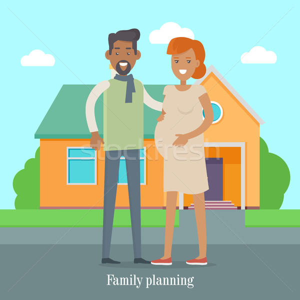 Family Planning Banner. Man and Woman Expect Baby Stock photo © robuart