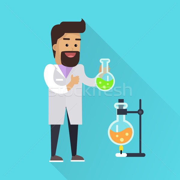 Stock photo: Scientist at Work Vector Flat Style Illustration