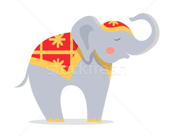Cure Elephant in Ornamented Cape Flat Vector Icon Stock photo © robuart