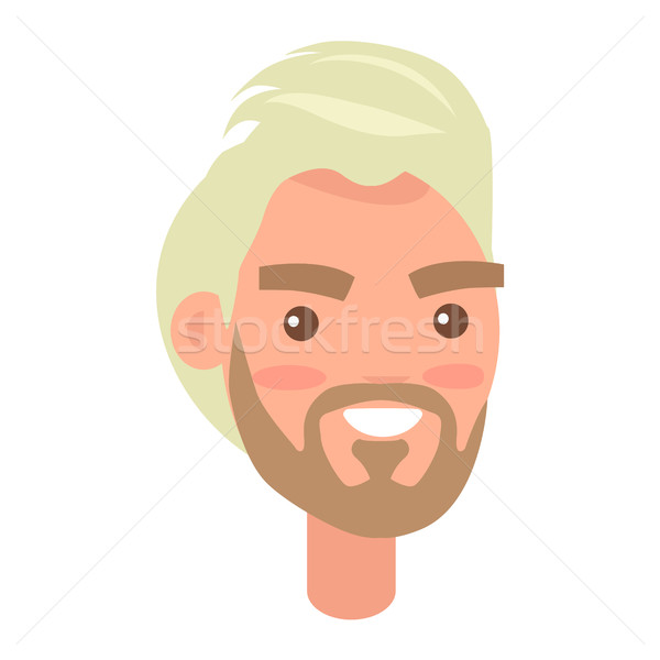 Blonde Haired Man Face with Pink Cheeks Front View Stock photo © robuart