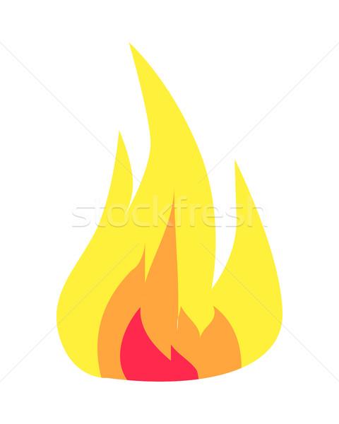 Burning Flame Icon Isolated on White Background Stock photo © robuart